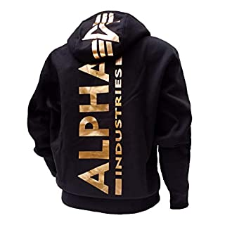 Alpha Back Print Hoody Kapuzensweater Wirbelsäulendruck neu (XL, Black-Gold)
