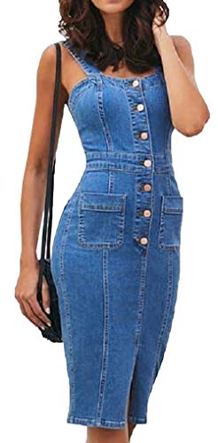 Scothen Damen Jeans Skirt Frauen Trägerkleid Slim Denim Jeans Party Minikleid Jeans Bluse Frühling Sommer Elegant Bodycon Jeanskleid Knopf Knielang Epaulet Denim Blusekleid Cocktail Kleid Jeans Kleid