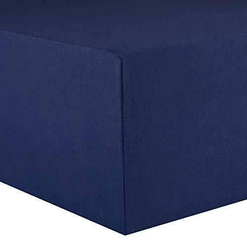 CelinaTex Lucina Spannbettlaken 140x200 - 160x200 cm dunkel blau Baumwolle Spannbetttuch