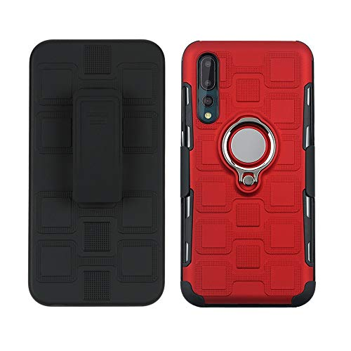 3C-LIFE Swivel Ring Kickstand Case Compatible with Huawei P30 Pro, Dual Layer Rugged Tough Heavy Duty Rubber Bumper Adjustable Ring Grip Belt Back Clip Stand Magnetic Car Mount Anti-Fall Cover (Red) Rubber Case-swivel Clip