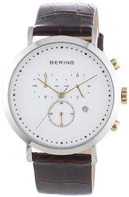Bering Classic - Reloj cronógrafo de caballero de cuarzo con correa de piel marrón - sumergible a 50 metros de Bering