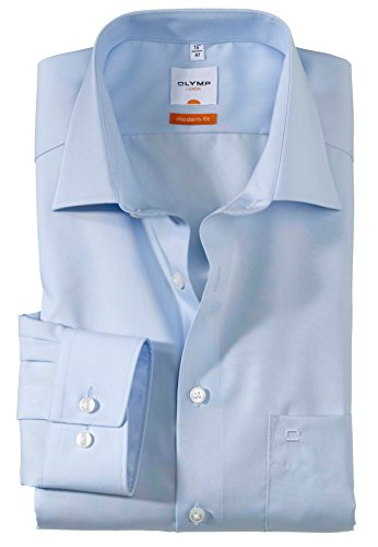 Olymp Herren Langarmhemd - Luxor Modern Fit, Gr.40, Farbe 63 hellblau