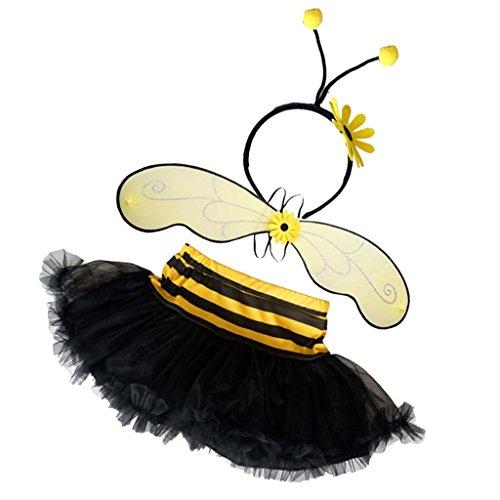 MagiDeal Halloween Mädchen Kinder Honig Biene Kostüm Bienenkostüm Kostüme Set Fasching Karneval Party (Honig Biene Kostüm Set)