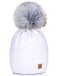 Damen Wurm Winter Style Beanie Strickmütze Mütze mit Fellbommel Bommelmütze Hat Ski Snowboard Pelz Bommel Pompon Circle Stars Kristalle Crystals 4sold