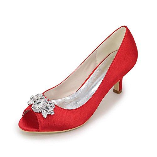 Elegant Tacchi Da Donna Primavera Estate Primavera Estate Seta Nozze Casual Party & Sera Stiletto Heel Rhinestone Sliver Rosso Blu Bianco Viola Red