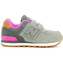NEW BALANCE KG574 SNS gris rosado de la muchacha rasgan las zapatillas de deporte