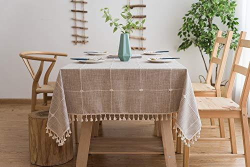 Lanqinglv Quaste Tischdecke 110x170 Beige Kariert Baumwolle und Leinen Tischtuch Rechteck Couchtisch Tischdecke Gartentischdecke Abwaschbar Küchentischabdeckung für Speisetisch (110x170,Beige)