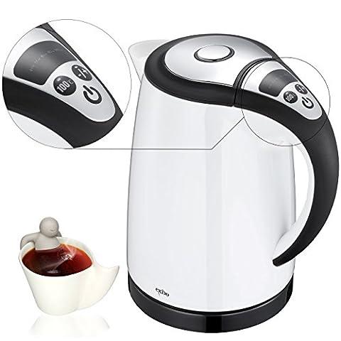 Digital Wasserkocher mit Temperaturanzeige, elektrischer Teekocher 1,5 Liter zusammen mit Teemännchen Innen von Oramics