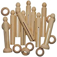 Dolly Pegs With Stands Wooden Pack Of 10 Natural Peg Doll Crafts People