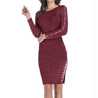 Women's Elegant Bodycon Slim Fit Long Sleeve Warm Night Out Pencil Midi Dress