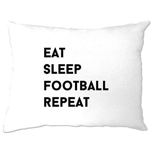 Tim And Ted Sport Kissenbezug Essen, schlafen, Fußball, Wiederholen Slogan White One Size - Neuheit Fußball-bälle