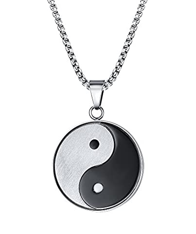 Vnox Mens Womens Stainless Steel Yin Yang Bagua Protective Talisman Pendant Necklace Jewelry