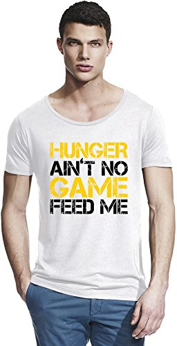 Hunger Ain't No Game Feed Me Slogan Bamboo Wide Neck T-shirt X-Large