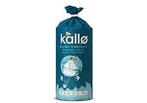 Kallo Sea salt & Balsamic Wholegrain low fat rice & Corn cakes 122 g (Pack of 6)