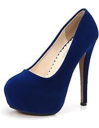 OCHENTA Zapatos de Vestir de Material Sintético para Mujer Zapatos con  Tacon Alto para Mujer Plataforma 7bde6f5ab620
