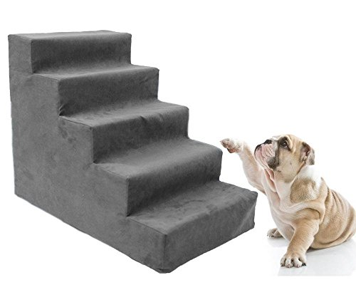 toparchery Upgraded 5 Dog Steps for High Bed, All foam Pet Stair Animal Ramp Ladder for Small Cats Dogs up to 22 Pounds