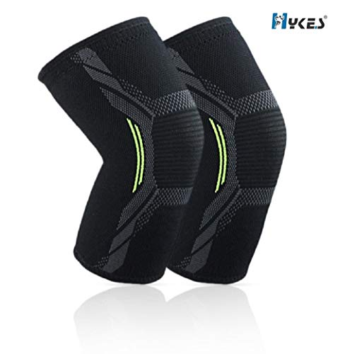 Hykes Knee Cap Compression Support for Gym Running Cycling Sports Jogging Workout Pain Relief (Large)