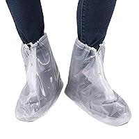 YiZYiF Unisex Reusable Waterproof Rain Shoes Cover Zipper Non-Slip Snow Protective Guard Boots Overshoes (UK 2-UK 11.5) White L(UK 6-6.5)