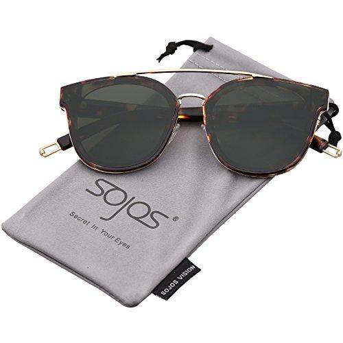 Sojos vogue occhiali da sole uomo donna quadrati vintage retrò classici ponti in metallo sj2038 con demi telaio/g15 lente