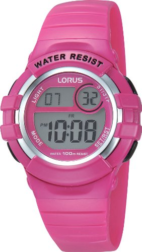 Lorus Kids R2387HX9 - Reloj digital de cuarzo para niña, correa de goma color rosa (cronómetro, luz)