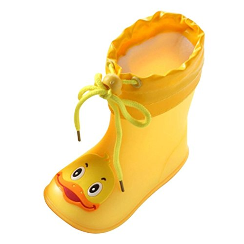 YUYOUG_Rainshoe yuyoug Student Lovely Cartoon Gelb Ente Regen Boot, Infant Kinder Kids Baby PVC Anti-Rutsch Wasserdicht Plus Samt Warm Regen Schuhe für Jungen und Mädchen, Gelb, 14/UK:5.5
