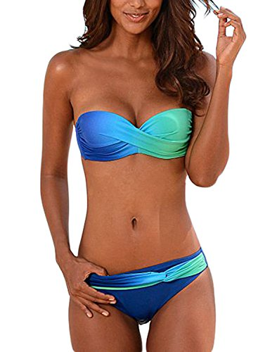 Aleumdr Damen Bandeau Padded Ruched Bikini Swimsuit with Swimming Briefs Blau Größe XL -