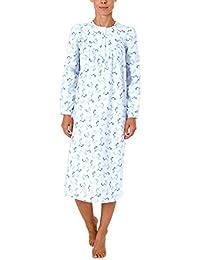 NORMANN WÄSCHEFABRIK Damen Finette Nachthemd fraulich mit Knopfleiste am Hals - auch in Übergrössen - 61885
