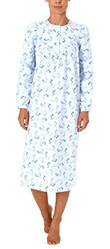 NORMANN WÄSCHEFABRIK Damen Finette Nachthemd fraulich mit Knopfleiste am Hals - auch in Übergrössen - 61885, Größe2:36/38, Farbe:blau