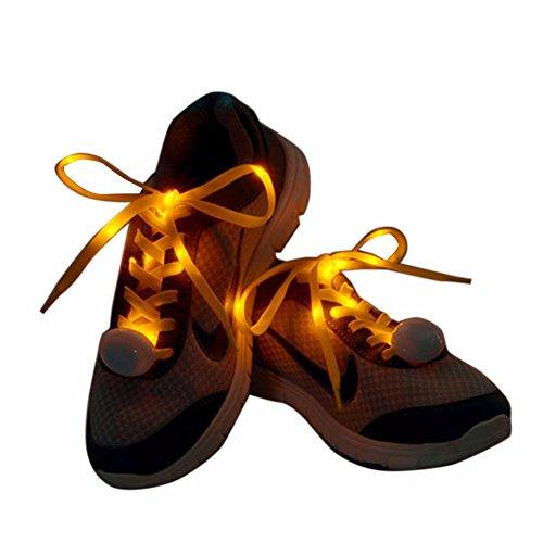 iiniim 1paio LED lampeggiante Nylon Lacci fascio di luce Sneaker Scarpe Strings, Yellow, taglia unica