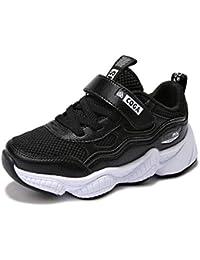 Niños Zapatillas Deportivas de Baloncesto con Velcro para niños Zapatillas de Deporte Antideslizantes Inferiores Gruesos para Exterior de Color Negro Zapatillas de Deporte Casuales Rojas