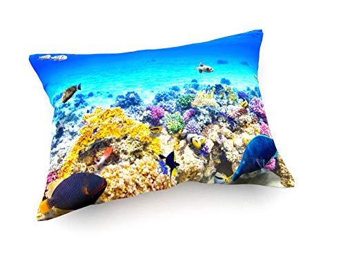 weewado Brian Kinney - Great Barrier Reef - 60x40 cm - Sofa-Kissen aus Satin - Kunst, Gemälde, Foto, Bild auf Kissen - Landschaft -