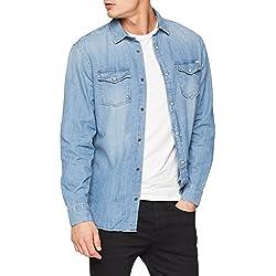 JACK & JONES Jjesheridan Shirt L/s, Camisa Vaquera para Hombre, Azul (Medium Blue Denim Fit: Slim) XX-Large