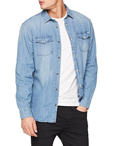 Jack & jones jjesheridan shirt l/s, camicia in jeans uomo, blu (medium blue denim fit: slim), large