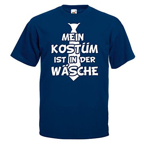 T-Shirt MEIN KOSTÜM IST IN DER WÄSCHE mit Krawatte Karneval Fasching Verkleidung Navy (Druck Weiß) M