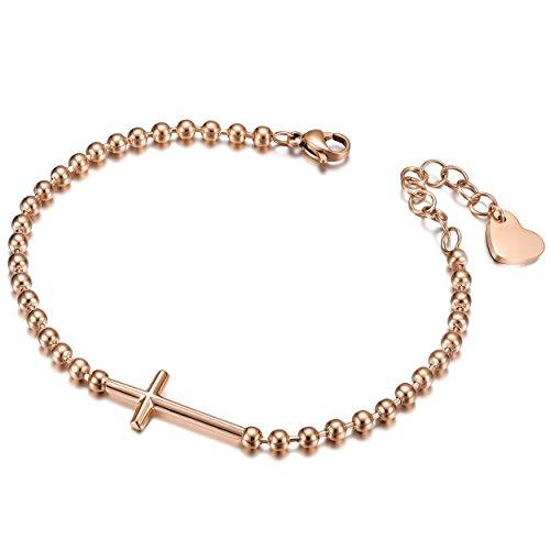 WISTIC Kreuz Christian Armband seitlich Armband Edelstahl italienischen Stil Charm verstellbare Armbänder Link für Frauen