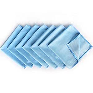 """Microfiber Glass Cleaning Cloths, AutoCare Glass Cleaning Cloths for Eyeglasses Car Windows Mirrors Computer Screen TV Tablets Camera Lenses Chemical Free Lint free Scratch Free (12""""x12"""", Blue 8 Pack)"""