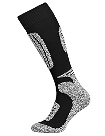 Tobeni 2 Pairs of Ski Functional Snowboard Winter Socks for Women and Men Colour Black-Grey Size UK 4-7 / EU 35-38