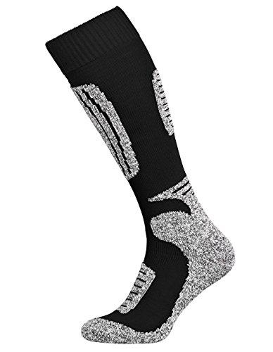 Tobeni 2 Paar Skisocken Funktionssocken Snowboardsocken Winter-Socken für Damen und Herren Farbe Schwarz-Grau Grösse 39-42