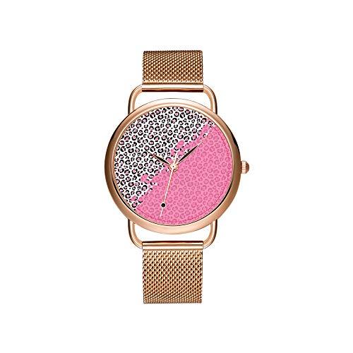 amen Mesh Gürtel ultradünne Uhr wasserdichte Uhr Quarzuhr Weihnachten Nette Girly Cheetah Leopardenmuster & Pink Paint Armbanduhr ()