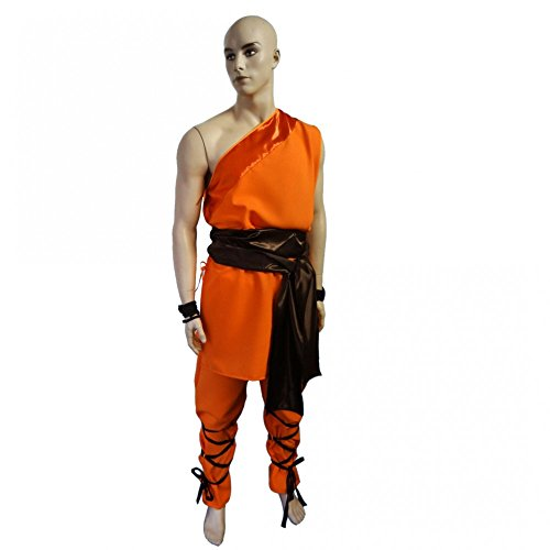 Kostüm Shaolin Kämpfer Gr. L orange Mönch Kloster China Buddhist (Kostüme China)