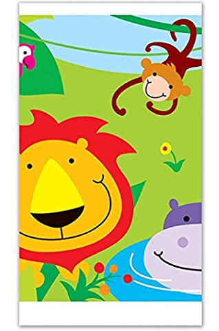 Jungle Theme Table Cover Girls Kids Childrens Birthday Zoo Animal