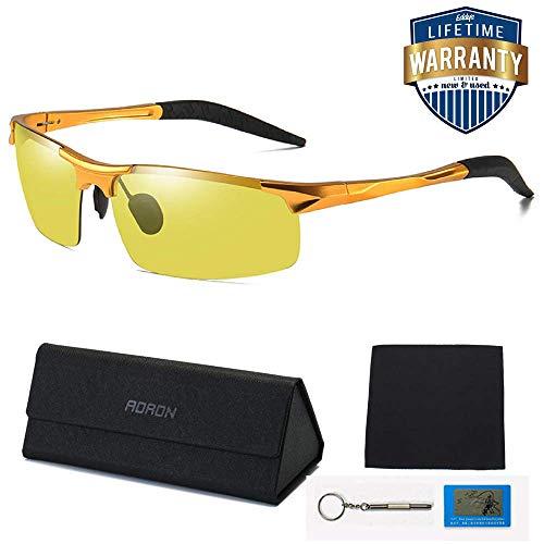 WONICE Nachtsichtbrille | Blendschutz Nachtfahrbrille - HD Ultra Light Metall/Gewidmet Nachtbrille (Gold)