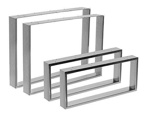 """Kufentischgestell Edelstahl gebürstet 1 Paar 80x70cm Modell """"Köln"""" Tischuntergestell Tischkufe Tischgestell"""