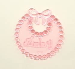 2.5 Inch Clear Pink Plastic Baby Bibs 12 Pieces for Baby Shower Favors