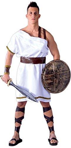 Herren Griechische Spartan Sparta Warrior 300Film Soldaten antiken Griechenland Historical Fancy Kleid Kostüm Outfit Große - Weiß, L