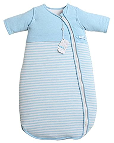 LETTAS Baby Winter Baumwolle Schlafsack Kinderschlafsack mit abnehmbaren Aermeln Blau 6-18 Monate
