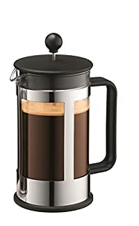 Bodum Kenya 8-Cup French Press Coffee Maker, 34-Ounce, Stainless Steel, Black