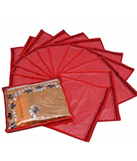 Kuber Industries™ Single Saree Cover 12 pcs Set  Red