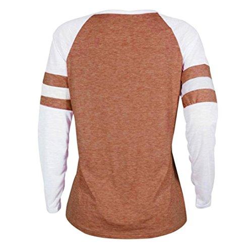 Bonjouree Chemisier Femme Pull T-Shirt Manches Longues Col Rond Hauts Grande Taille Orange B