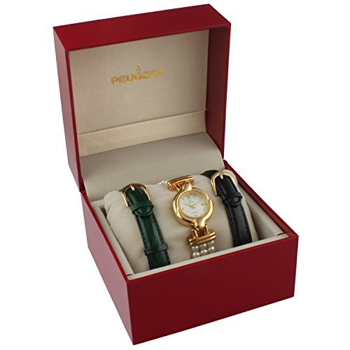 Peugeot Women's 14k Gold Plated Interchangeable Pearl & Leather Watch Gift Set